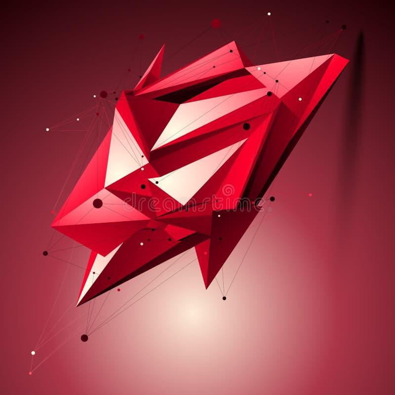 Forma tecnologico espacial do rubi, pla poligonal do objeto do wireframe ilustração do vetor