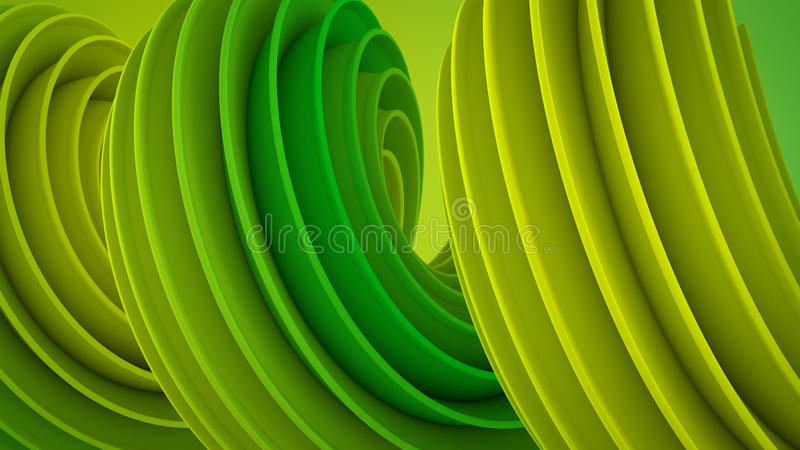 Forma torcida amarilla verde 3D libre illustration