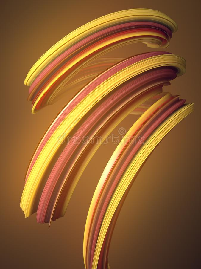 Forma torcida anaranjada 3D geométricos abstractos generados por ordenador rinden el ejemplo ilustración del vector