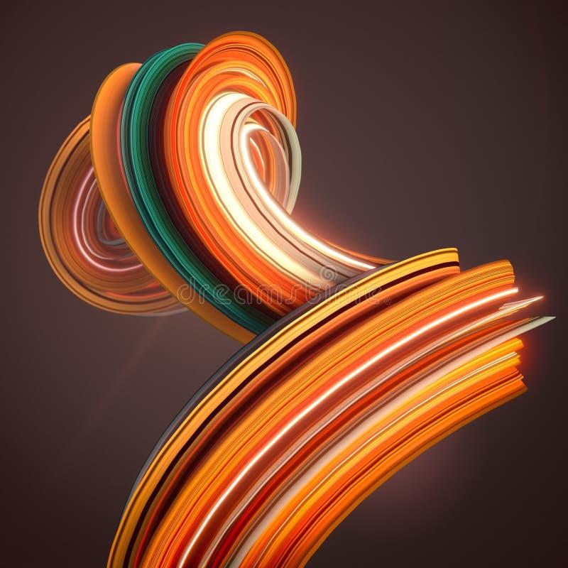 Forma torcida anaranjada 3D geométricos abstractos generados por ordenador rinden el ejemplo stock de ilustración