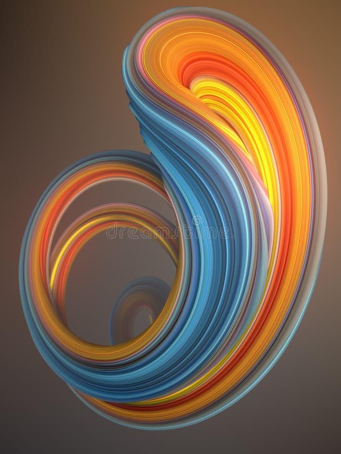 Forma torcida azul y de color naranja Geométrico abstracto generado por ordenador stock de ilustración