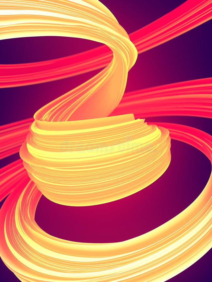 Forma torcida coloreada anaranjada y roja 3D geom?tricos abstractos generados por ordenador rinden el ejemplo libre illustration