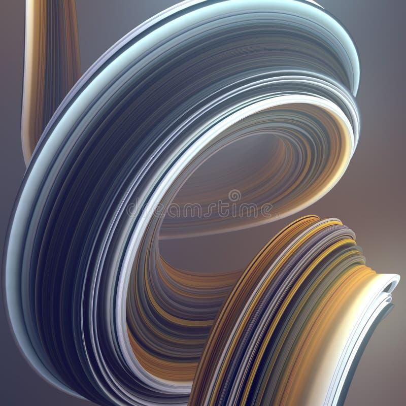 Forma torcida colorida 3D geométricos abstratos gerados por computador rendem a ilustração ilustração do vetor