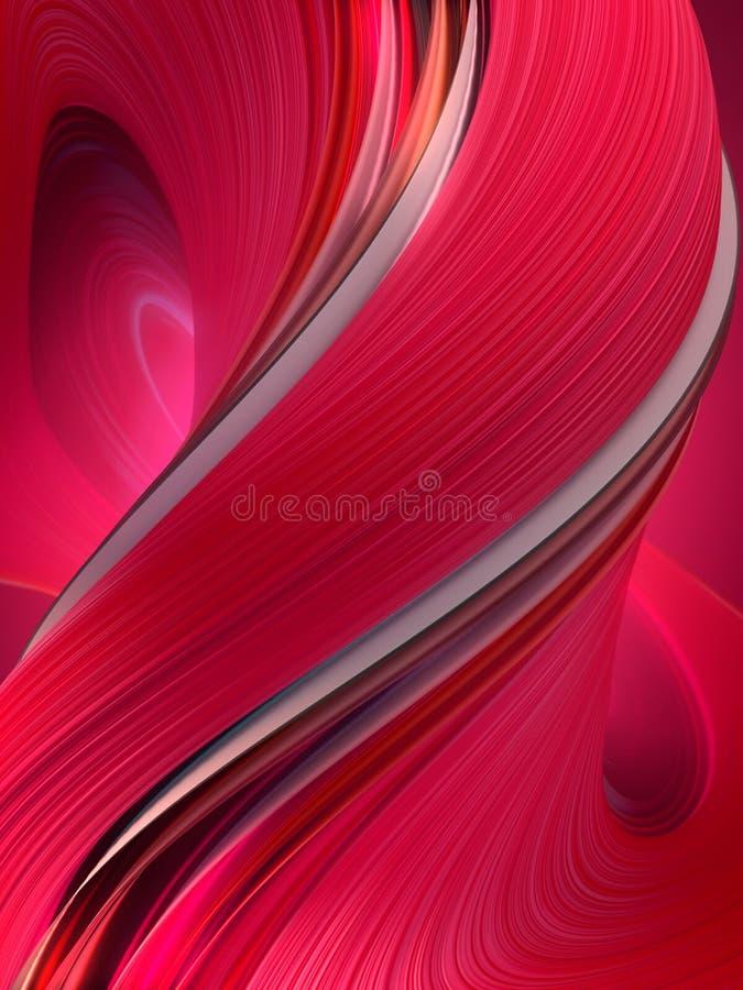 Forma torta rossa rosata Rappresentazione geometrica astratta generata da computer 3D immagini stock