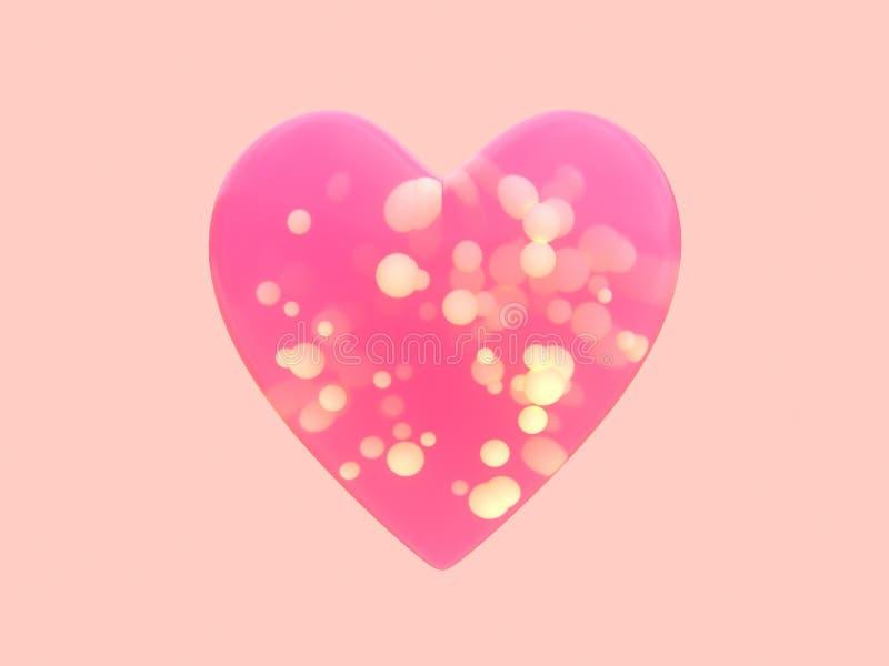forma transparente do coração do rosa do conceito do Valentim do romance do amor da rendição 3d muita esfera para dentro ilustração stock