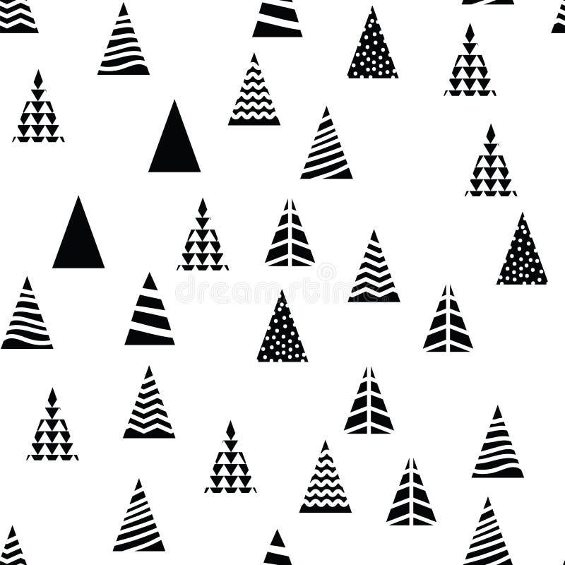 Forma triangolare degli alberi di Natale del modello su fondo bianco Alberi differenti di progettazione per il nuovo anno della d illustrazione vettoriale
