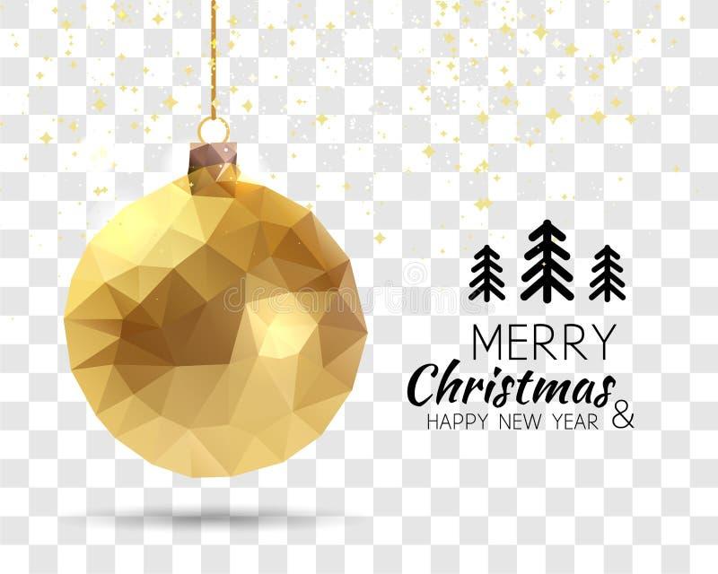Forma triangular na moda da bola do Xmas do ouro do ano novo feliz do Feliz Natal no estilo do origâmi do moderno no fundo transp ilustração do vetor