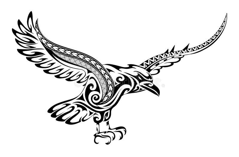 Forma tribale del corvo del tatuaggio royalty illustrazione gratis