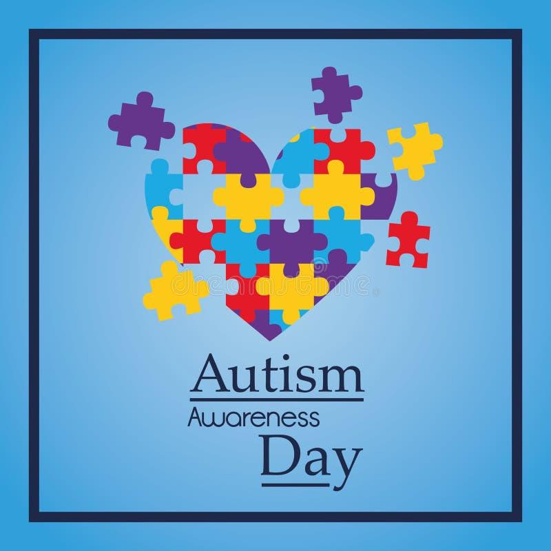 Forma variopinta del cuore di puzzle di giorno di consapevolezza di autismo illustrazione vettoriale