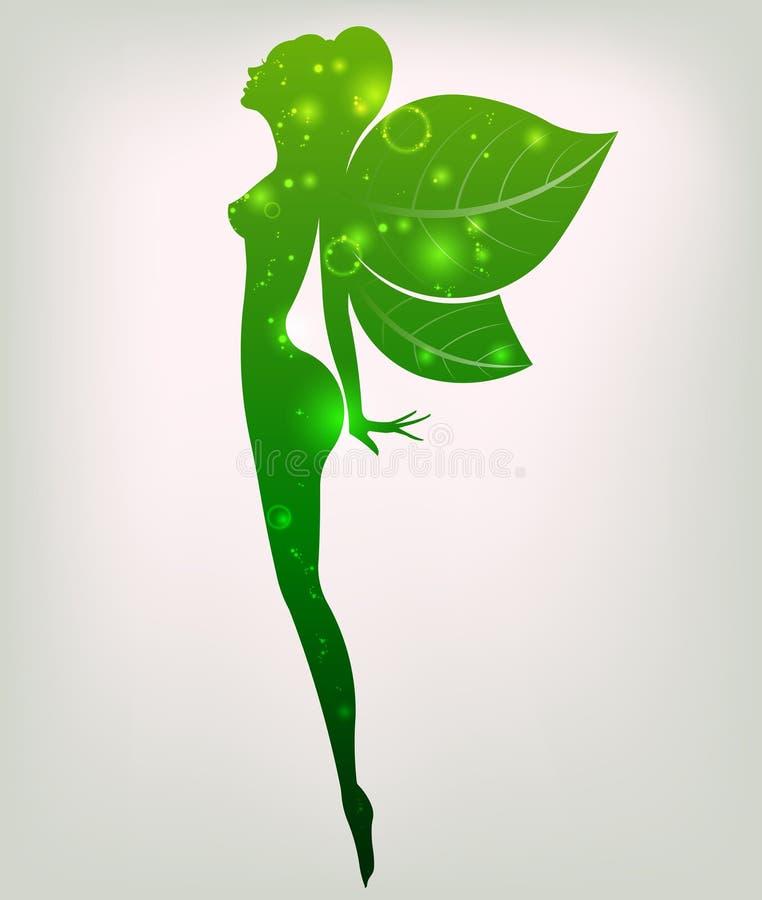 Forma verde del cosmético y del balneario hermosos, mujeres del icono de la mujer del logotipo en el fondo blanco, stock de ilustración