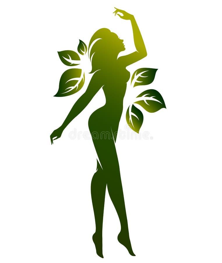 Forma verde di bei cosmetico dell'icona della donna e stazione termale, donne di logo su fondo bianco, royalty illustrazione gratis