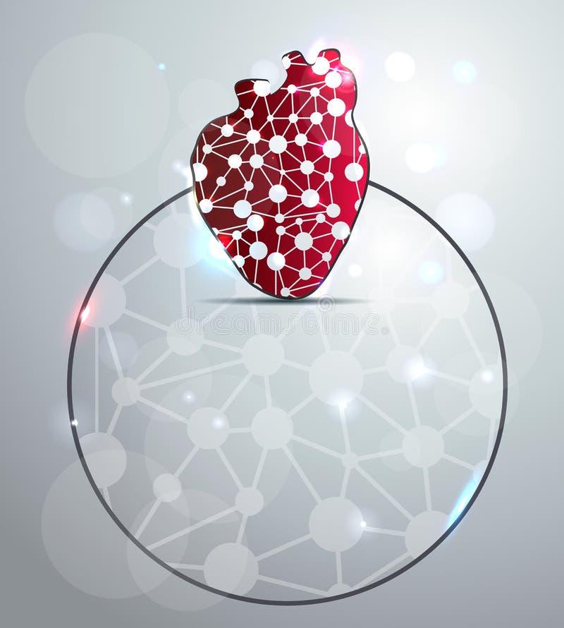 Forma vermelha abstrata do coração ilustração do vetor
