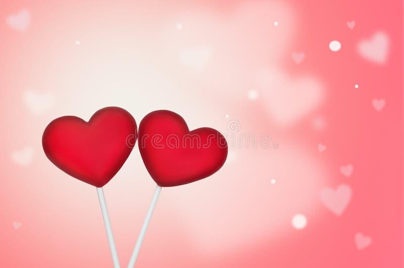 Forma vermelha de dois pirulitos do coração no fundo cor-de-rosa Conceito do dia do ` s do Valentim foto de stock
