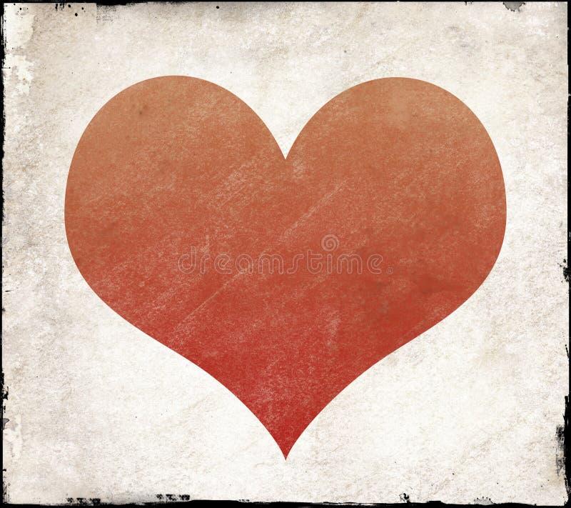Forma vermelha do coração com textura ilustração stock
