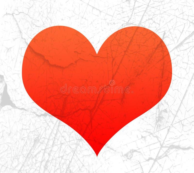 Forma vermelha do coração com textura ilustração royalty free