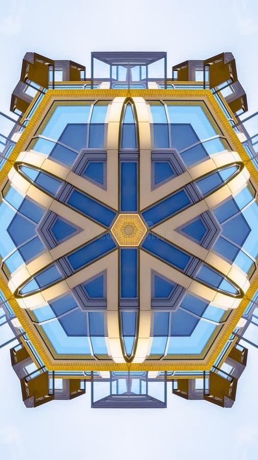 A forma vertical da estrela fez janelas do prédio de apartamentos do formulário ilustração do vetor