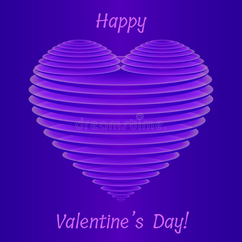Forma violeta elegante del corazón del ` s 3D de la tarjeta del día de San Valentín de placas ovales semitransparentes finas ilustración del vector