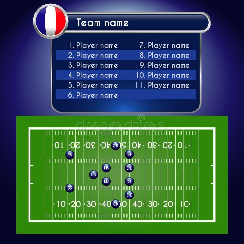 Formación americana del campo de fútbol y del jugador con el sistema de elementos infographic del rugbi stock de ilustración