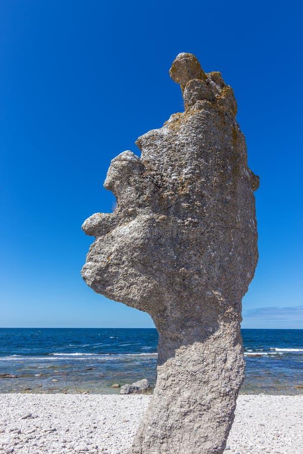 Formación de la piedra caliza en la isla de Fårö en Suecia imagenes de archivo