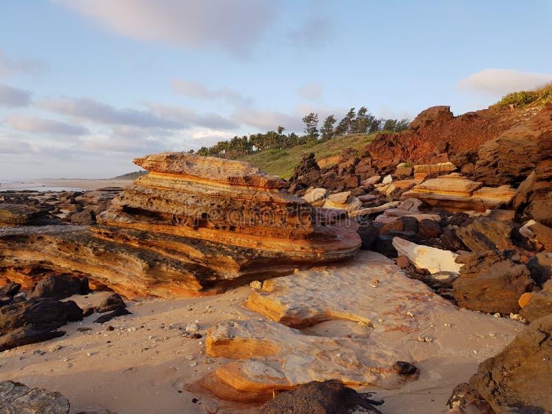 Formación de roca de Broome de la playa del cable fotografía de archivo libre de regalías