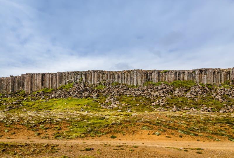 Formación de roca del basalto de los acantilados de la dolerita de Gerduberg, Snæfellsnes, imágenes de archivo libres de regalías