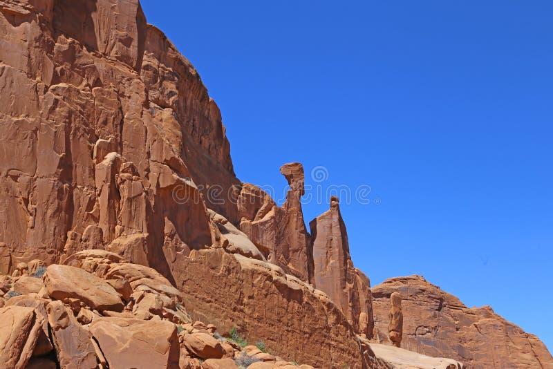Formación de roca en el parque nacional de los arcos Paisaje, estado foto de archivo