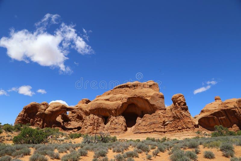 Formación de roca en el parque nacional de los arcos Paisaje, estado imagen de archivo