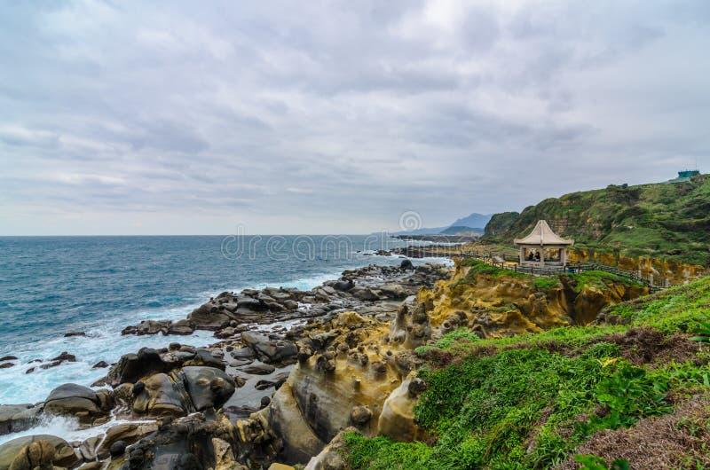 Formación de roca hermosa en la isla de la paz, Taiwán (ascendentes cercanos) fotografía de archivo libre de regalías