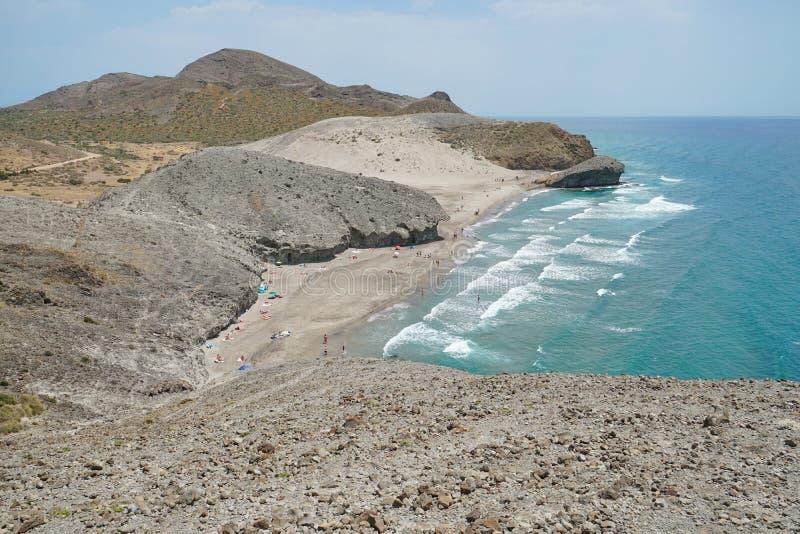 Formación de roca de la playa Cabo de Gata Almeria Spain fotografía de archivo libre de regalías
