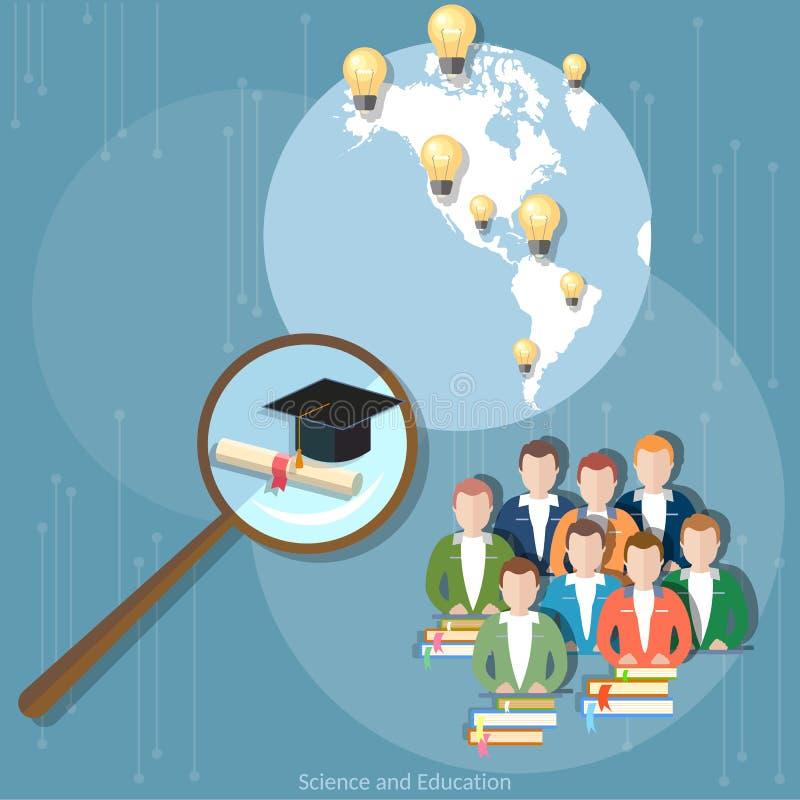 Formación a distancia de la educación del grupo del diploma en línea de los estudiantes ilustración del vector