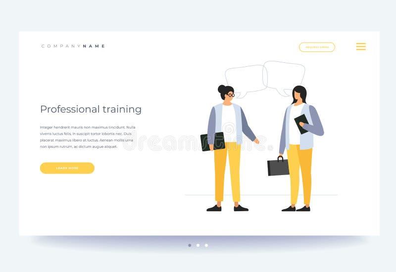 Formación profesional y educación Concepto de aprendizaje, de entrenamiento del negocio y de entrenamiento avanzado ilustración del vector