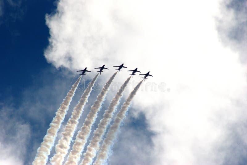 Formación roja de las flechas en la demostración de aire de Eastbourne 2005 fotos de archivo libres de regalías