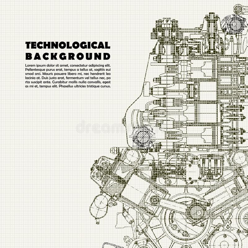 Formación técnica, motor de dibujo y espacio para su texto ilustración del vector