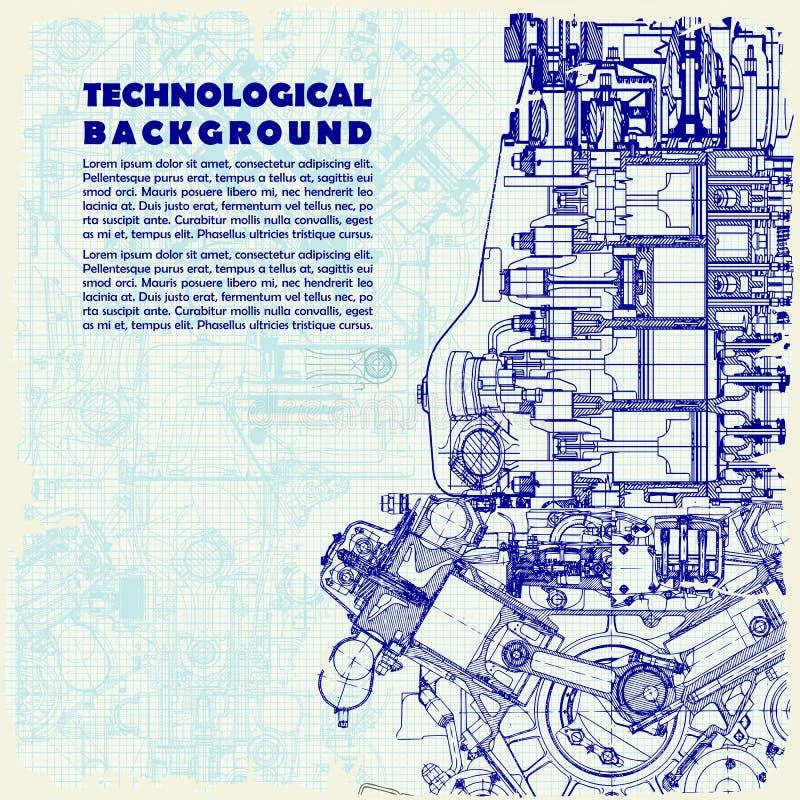Formación técnica retra, motor de dibujo y espacio para su texto la textura del papel cuadriculado se puede apagar stock de ilustración