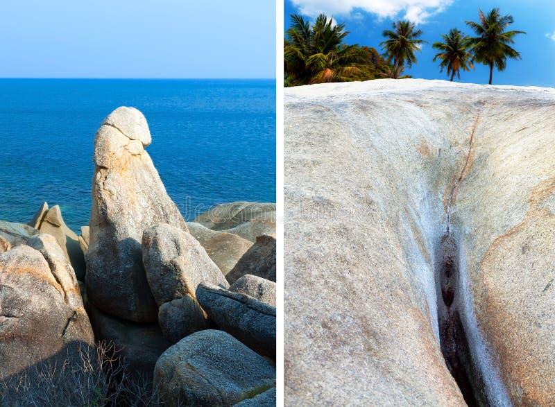 Formaciones de roca de Hin TA Hin Yai (abuelo y abuela), Koh Samui fotografía de archivo libre de regalías