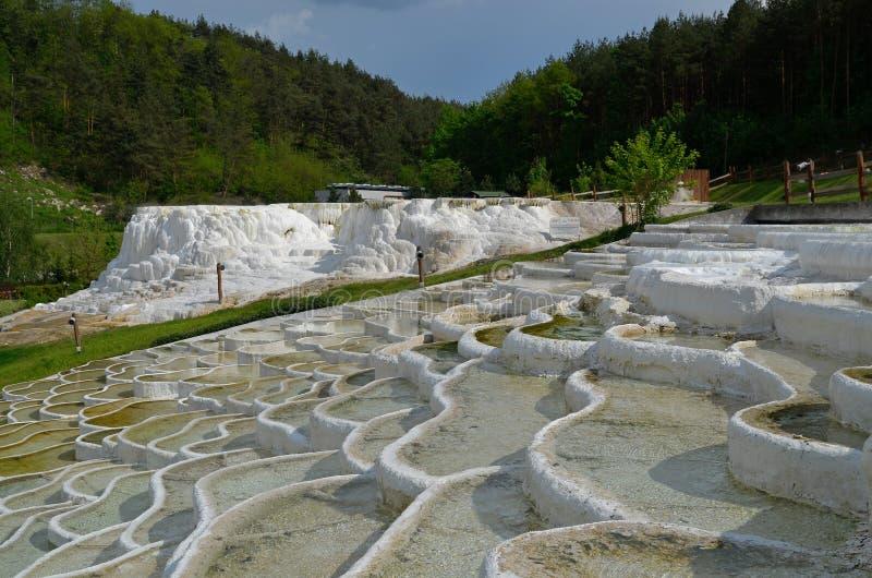 Formaciones de roca del travertino en Egerszalok (Hungría) fotografía de archivo
