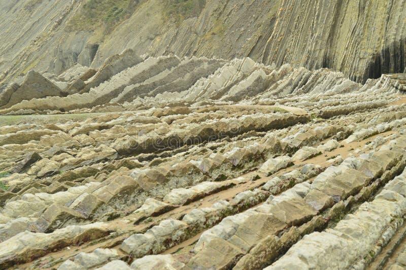 Formaciones geológicas en la playa del tipo la UNESCO vasca del flysch de la ruta de Geopark Juego filmado de tronos Playa de Itz foto de archivo libre de regalías