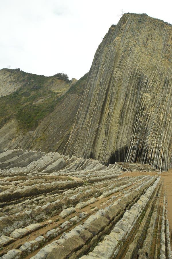Formaciones geológicas en playa y la montaña del tipo la UNESCO vasca del flysch de la ruta de Geopark Juego filmado de tronos Pl foto de archivo