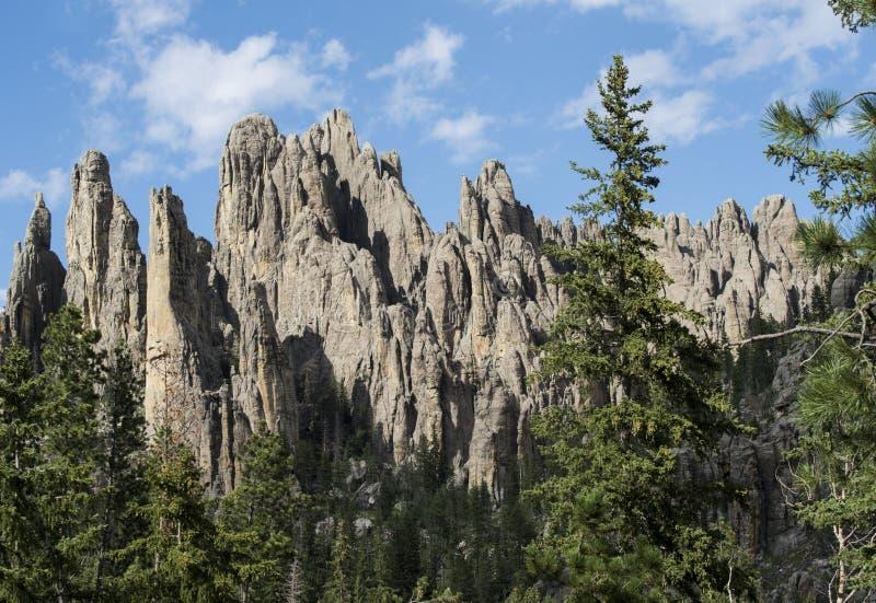 Formaciones grandes del granito en Custer State Park, Dakota del Sur, chapiteles de la catedral foto de archivo