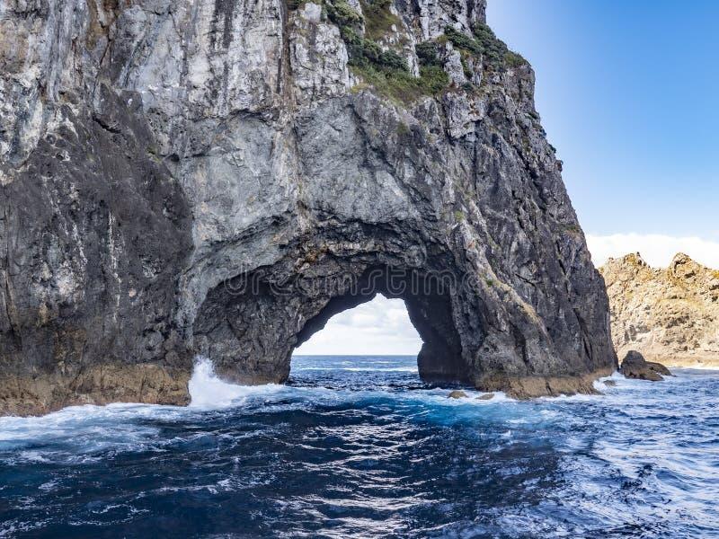 Formaciones onduladas de la arena y de roca en la playa de Wharariki, Nelson, isla del norte, Nueva Zelanda imágenes de archivo libres de regalías