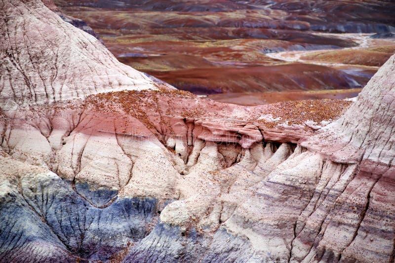 Formaciones púrpuras rayadas imponentes de la piedra arenisca de badlands azules del Mesa en Forest National Park aterrorizado fotografía de archivo