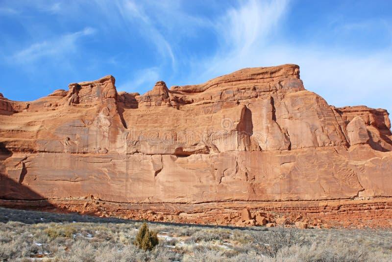 Formaciones rocosas en el Parque Nacional Arches, Utah fotografía de archivo