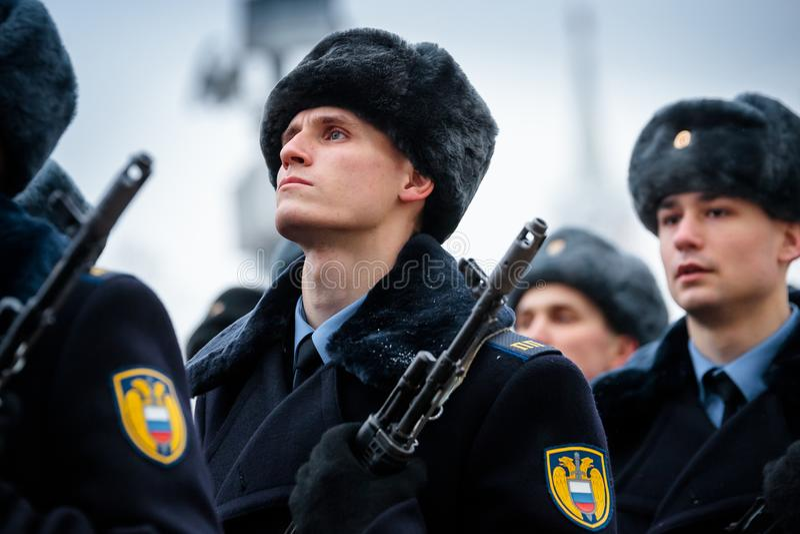 Formacja Prezydencki pułk usługa Moskwa Kremlin's Commandant fotografia royalty free