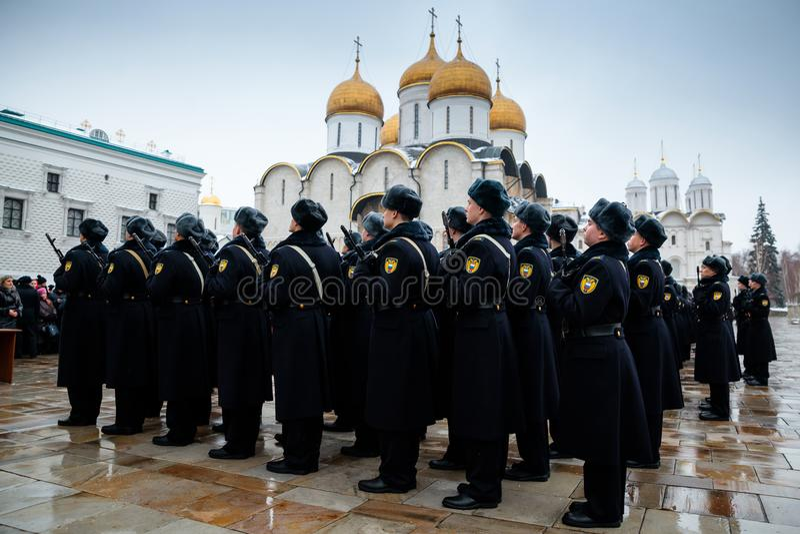 Formacja Prezydencki pułk usługa Moskwa Kremlin's Commandant fotografia stock