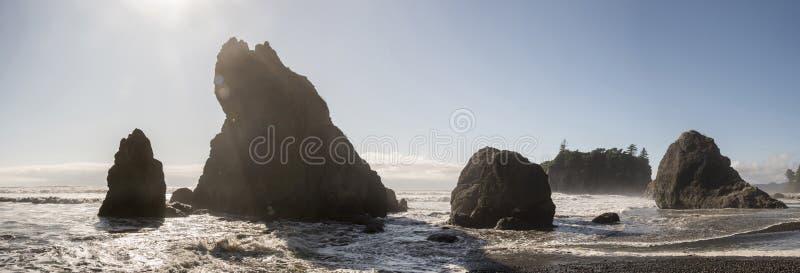 Formacje panoramiczne Ruby Beach Rock fotografia royalty free