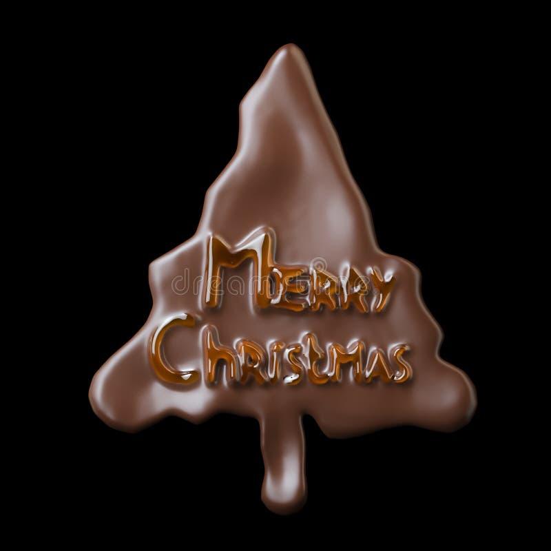 Formad chokladkaka för nytt år träd med att märka för glad jul (som isoleras på svart) stock illustrationer