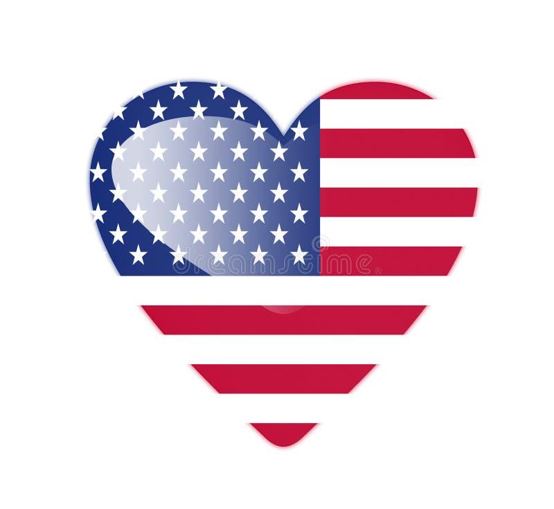 Formad flagga för Amerikas förenta stater 3D hjärta vektor illustrationer