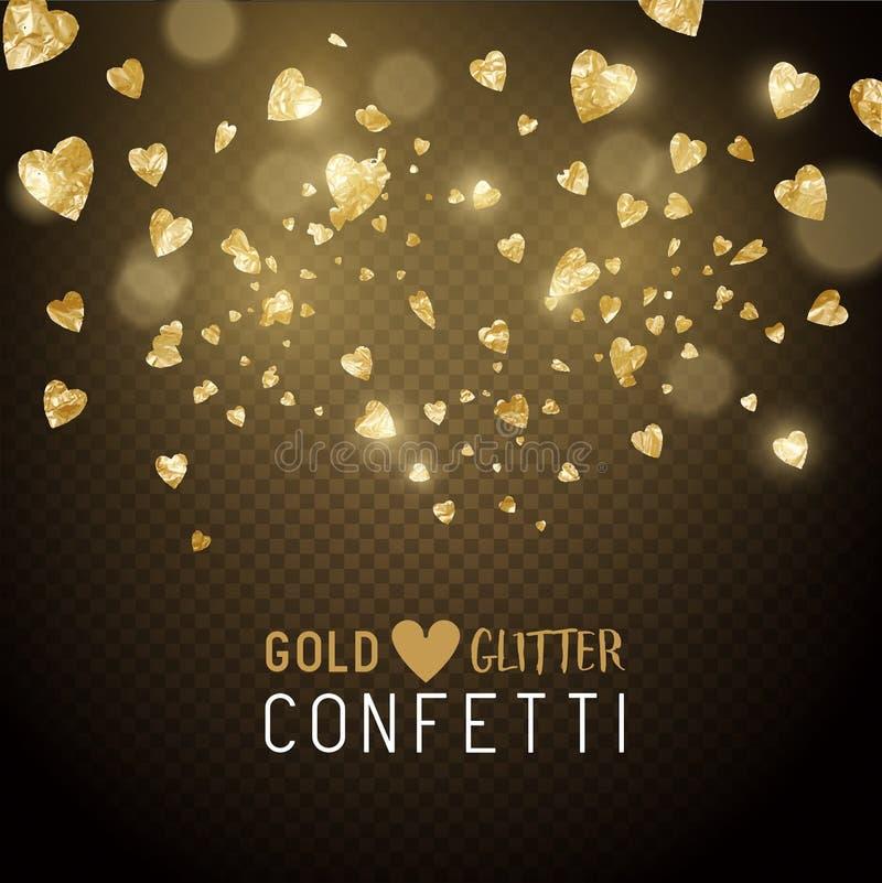 Formad hjärta blänker konfettier vektor illustrationer