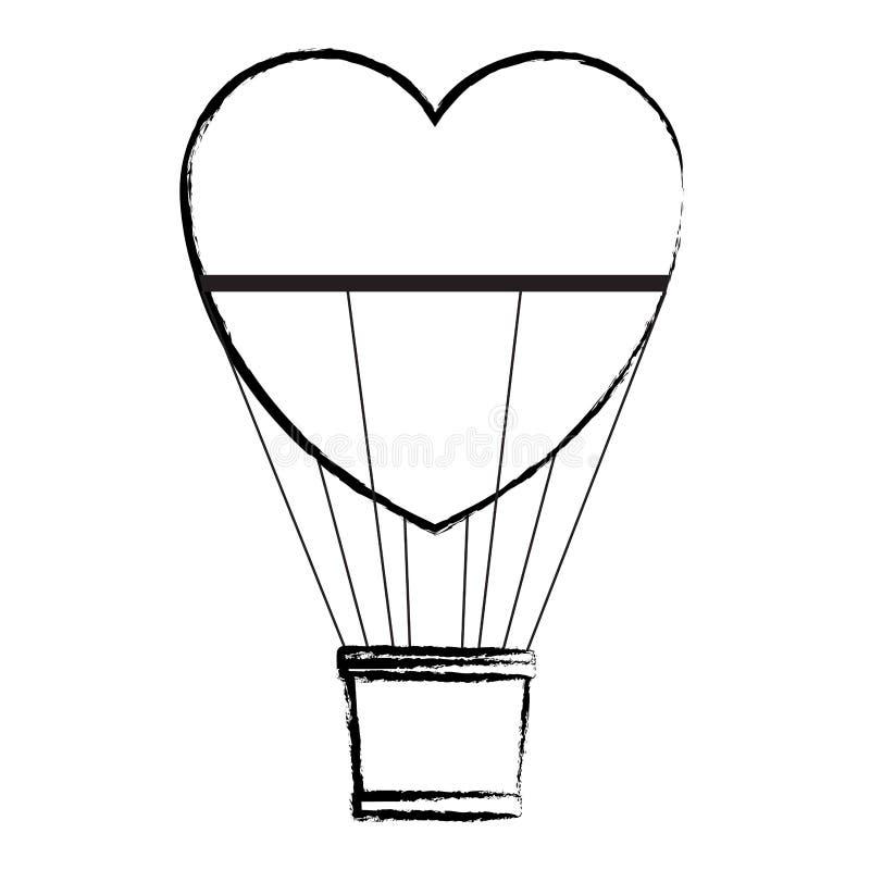 Formad hjärta för ballongen för varm luft skissar stock illustrationer