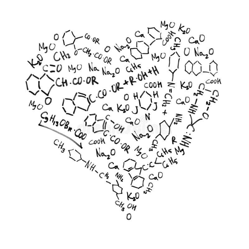 formad hjärta för chemical formler vektor illustrationer